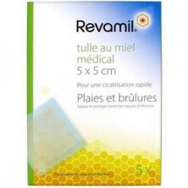 Revamil - Tulle Miel - 5x5 - Plaies et Brulûres - Boîte de 5